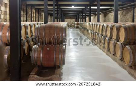 Indoor photo of many wooden barrels in  winery