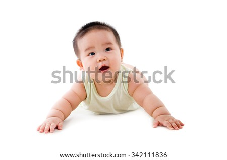 Indoor portrait of asian chubby baby boy