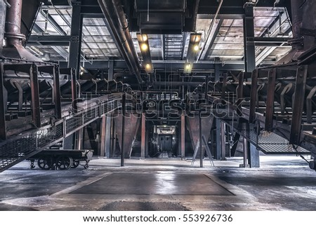 "Indoor production scene of the ""Zeche Zollverein"" in Essen-Germany. The closed coke oven plant is world heritage site."