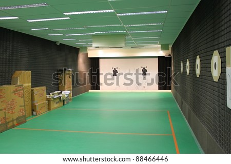 indoor shooting range - stock photo