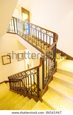 Indoor spiral staircase, the yellow light