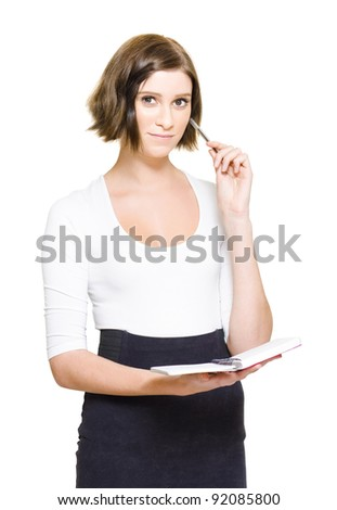 Indoor Studio Portrait Of A Happy Female Personal Assistant Writing Down The Weekly Time Plan Schedule In Her Diary In A Time Management And Organizational Concept