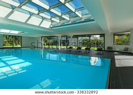 indoor swimming pool of a modern house with spa - Indoor House Pools