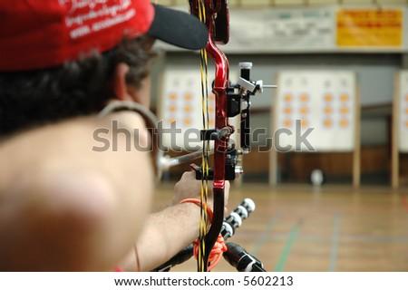 Indoor Target Archery - sight equipment - stock photo