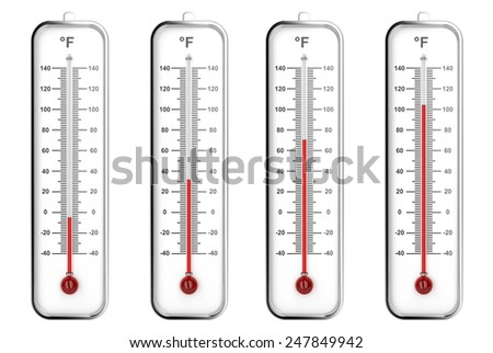 Indoor thermometers with different levels - Fahrenheit scale - stock photo