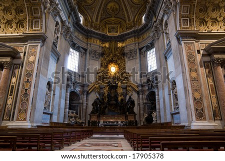 Indoor view of St Peter's Church in Rome.
