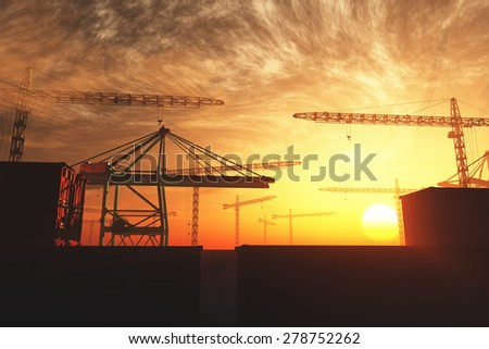 Industral Area and Cranes in the Sunset Sunrise 3D artwork illustration - stock photo