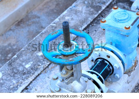 industrial air condition pipes plumbing valve cooler fire - stock photo