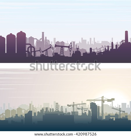 Industrial and Construction Cityscape. Banner or Poster Backgrounds. Illustration - stock photo