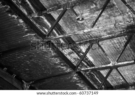 industrial archeology factory subscribed for aluminum production - stock photo