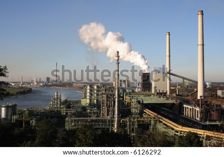 Industrial area with cocking plant in Duisburg (Germany) - stock photo