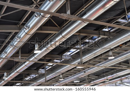 Industrial background, air conditioning tubes - stock photo