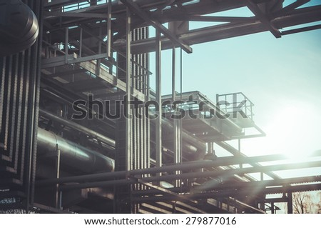 Industrial background: factory pipes, abstract plant view - stock photo