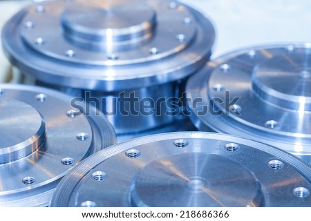 Industrial background from circle metalic  parts after machining - stock photo