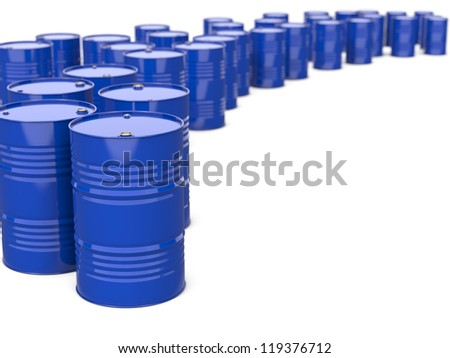 Industrial Background with Blue Barrels. Isolated on white. - stock photo
