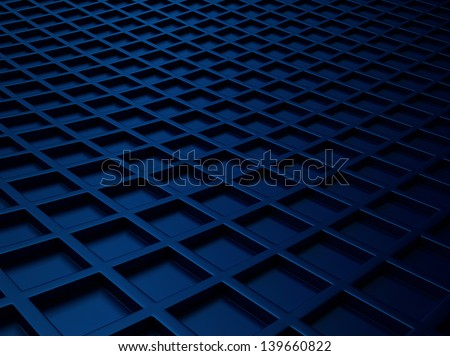Industrial blue metallic background with square pattern - stock photo