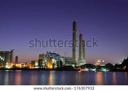 Industrial building at night
