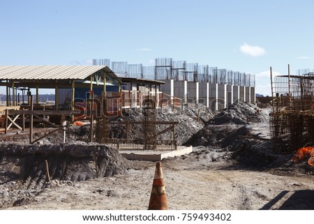 Industrial building, foundation, pillars, floor for the iron ore industry
