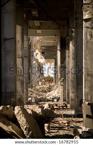 Industrial building under demolition - stock photo
