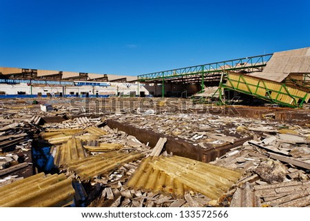 Industrial buildings devastated by industrial decline - stock photo