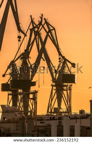 Industrial cargo cranes in the dock at sunset - stock photo