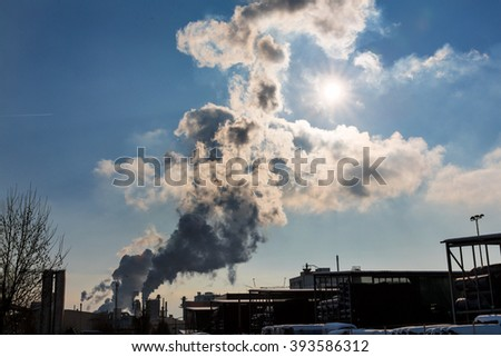 industrial chimney with exhaust gases - stock photo