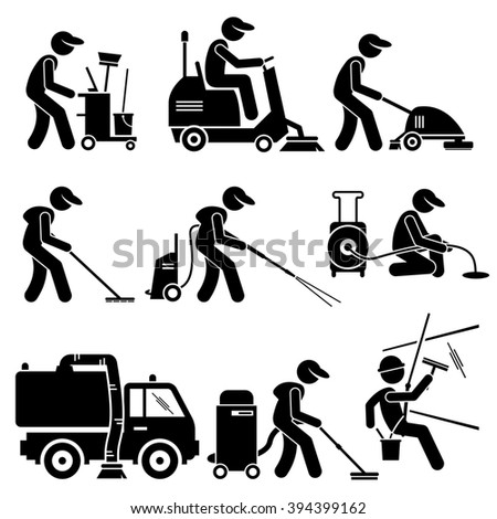 Industrial Cleaning Worker with Tools and Equipment Stick Figure Pictogram Icons - stock photo
