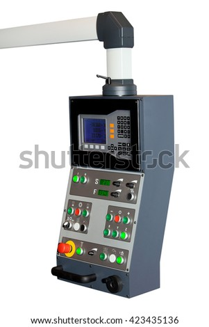 Industrial CNC control panel isolated on white background. Metal processing industry - stock photo