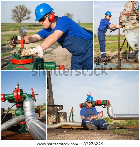 Industrial collage showing workers at work - stock photo