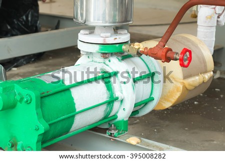 industrial compressor refrigeration station at manufacturing factory - stock photo