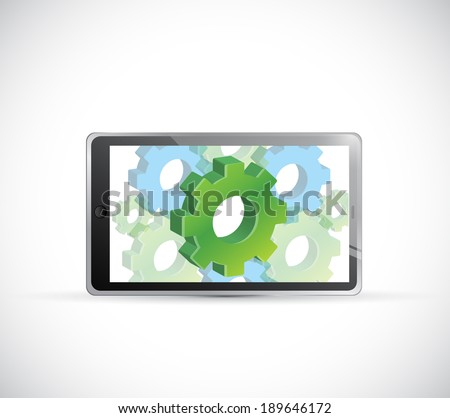 industrial concept computer tablet illustration design over a white background - stock photo