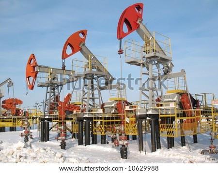 Industrial construction and mechanism. Work of oil industry. - stock photo