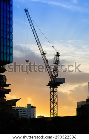industrial construction crane and building silhouettes.