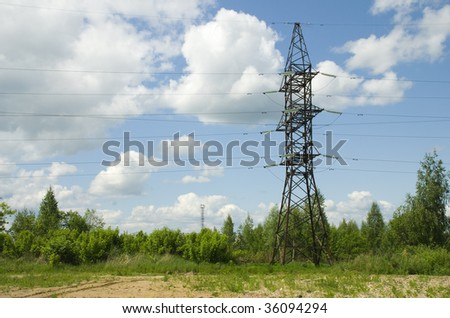 Industrial construction. High Tension Wires - stock photo