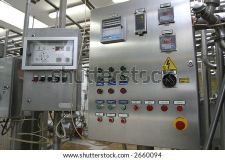 industrial control system in modern dairy factory - stock photo