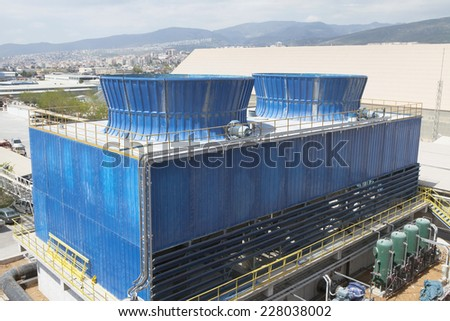 Industrial cooling tower. - stock photo