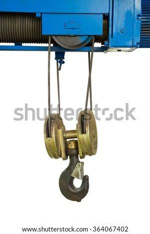 Industrial crane hook hanging with sling in factory isolated on white background - stock photo