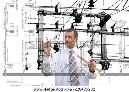 Industrial designing engineering power line - stock photo