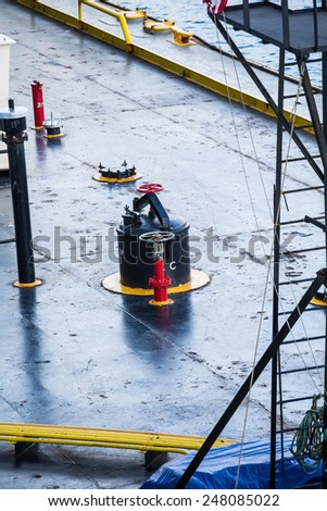 Industrial Details on a working ship and barge - stock photo