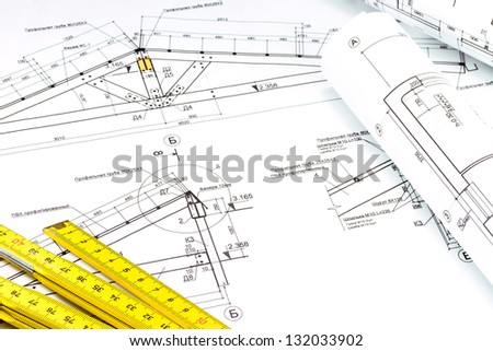 Industrial drawing detail and ruler