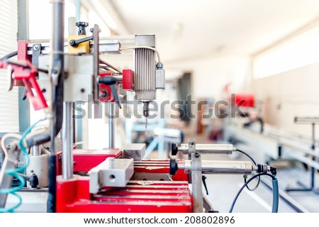 industrial drilling machinery. Factory milling and drilling equipment and machines  - stock photo