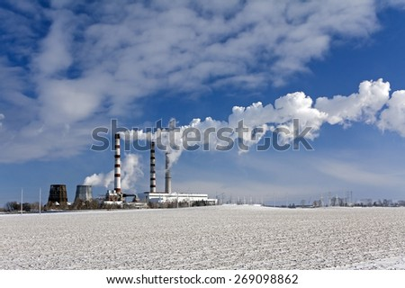 industrial emissions  - stock photo