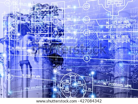 Industrial engineering technology.Manufacturing background - stock photo