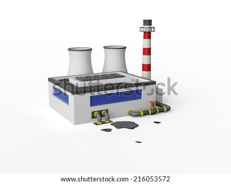 Industrial Factory Building on white background. - stock photo