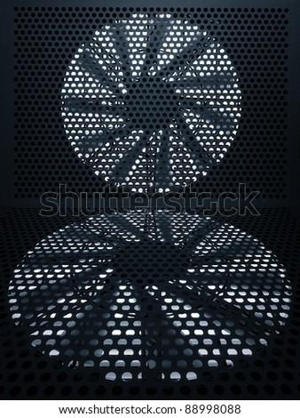 Industrial fan turbine a metal grate - stock photo