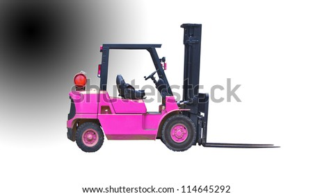 industrial fork lift truck isolated - stock photo