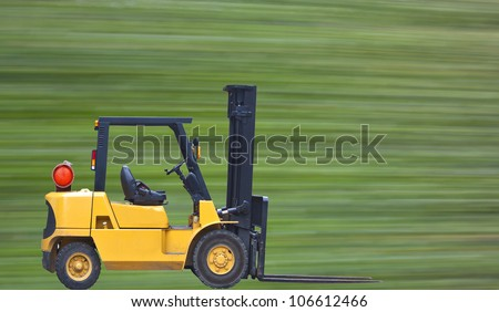 industrial fork lift truck isolated on white background - stock photo