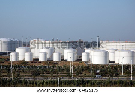 Industrial Fuel Storage at oil refinery/Fuel Tanks - stock photo