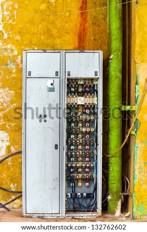 stock photo industrial fuse box on the wall closeup photo 132762602 electrical fuse stock images, royalty free images & vectors industrial fuse box at cos-gaming.co