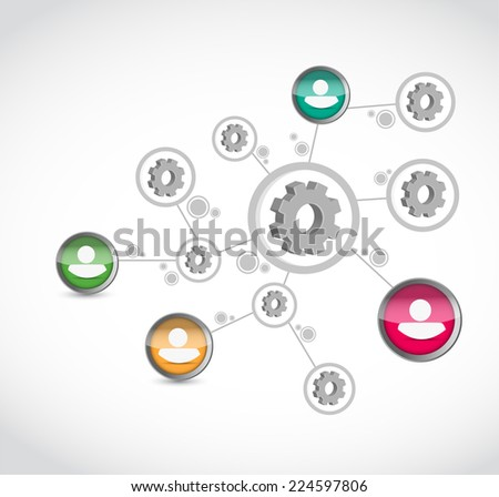 industrial gear diagram illustration design over a white background - stock photo